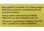 Prodejna TRZNICE- příští týden od 8.3. do 12.3. ZAVŘENO - čerpání dovolené